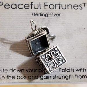 Prayer Box Pendant Charm  .925 sterling silver